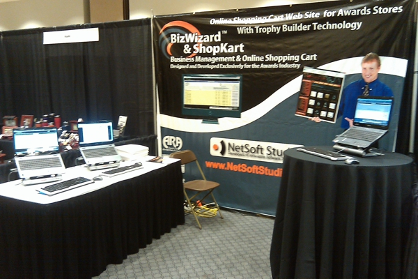 Awards Shopping Cart and Awards and Trophy Point of Sale Order Tracking Software Booth Pictures from Texas Trophy Show